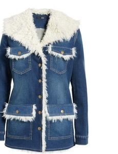Kut From The Kloth-Faux ShearlingTrim Denim Jacket